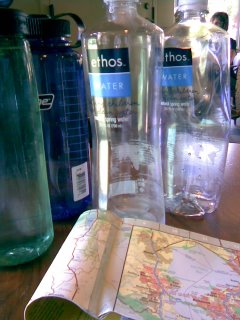 Maps and Water bottles in Starbucks, Novato