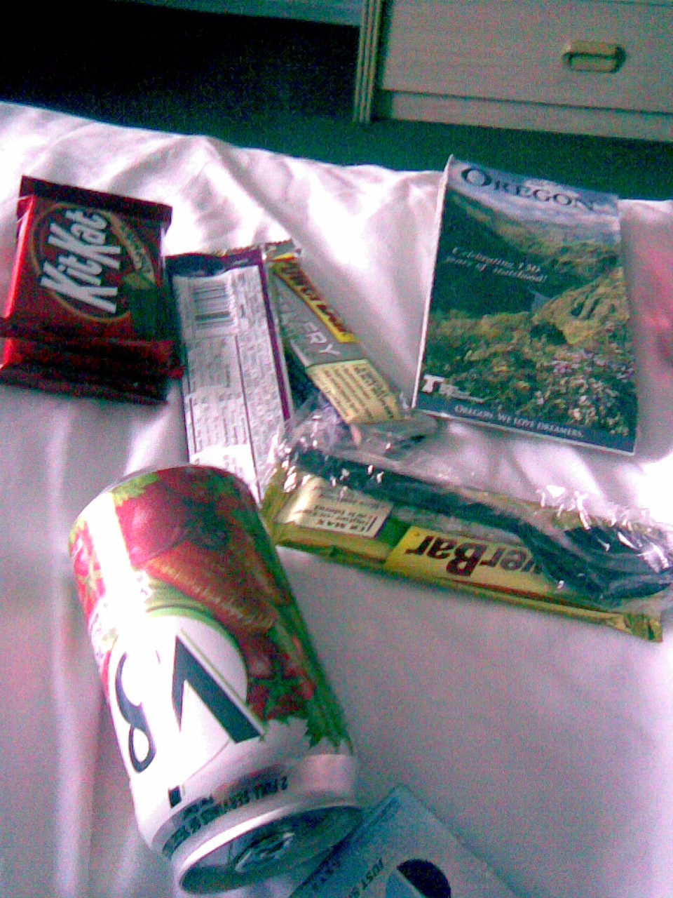 Hotel room in Klamath Falls, snacks and map